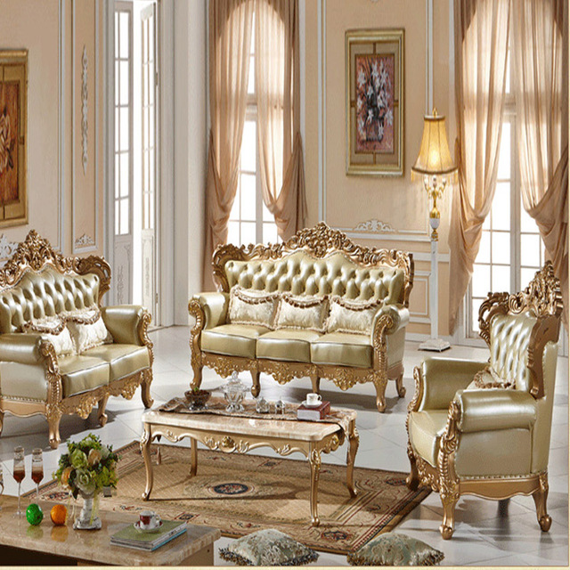 Champagne Region Interior Design Traditional Rustic: European Style Sofa Leather Sofa New Champagne Gold Solid