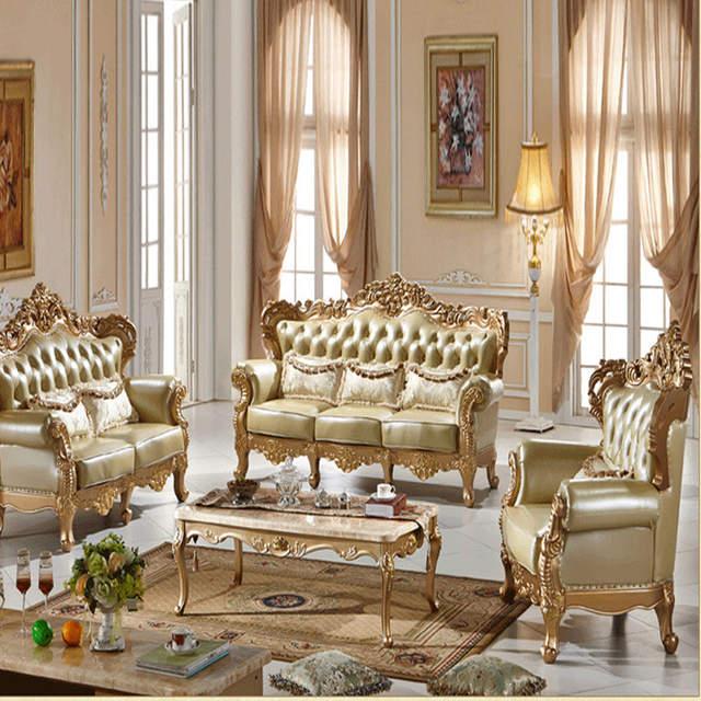 European style Sofa Leather Sofa new Champagne Gold Solid Sofa living room  furniture