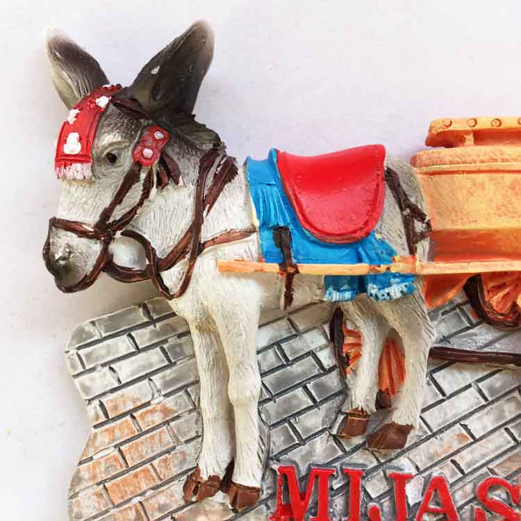 Spain Mijas three dimensional donkey cart travel souvenir refrigerator stickers in Fridge Magnets from Home Garden