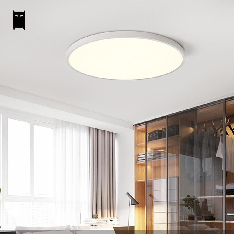 Round Thin Iron Acrylic Geometry Ceiling Light Fixture Surface Mounted Modern Simple Plafon Lamp for Hallway Bedroom Living Room noosion modern led ceiling lamp for bedroom room black and white color with crystal plafon techo iluminacion lustre de plafond