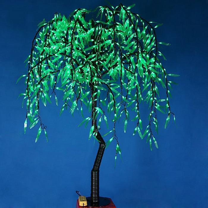Бесплатная доставка, 1,2 м, 4 фута, высота, светодиодный светильник Willow Tree, 336 шт., светодиодный s зеленый цвет, непромокаемый, открытый, Рождеств