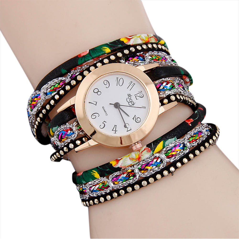 Bracelets 2018 New Women Luxury Multilayer Leather Band Winding watch Analog Quartz dress Wristwatches for Women Bangles Jewelry