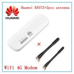 Разблокированный Huawei E8372 E8372h-153 E8372h-608 с 2 шт. антенной 150 м LTE USB Wingle 4G WiFi модем ключ автомобильный wifi E3372