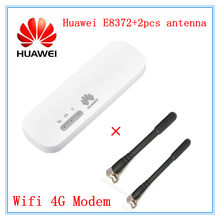 Desbloqueado Huawei E8372 E8372h-153 E8372h-608 E8372h-155 con 2 uds, antena de 150M USB LTE Wingle 4G módem WiFi dongle WiFi para coche E3372(China)
