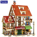3D Wood House Puzzle Plywood DIY Model Kids Toy France Japan Style Coffee House Puzzle for Children Birthday Christmas Gift