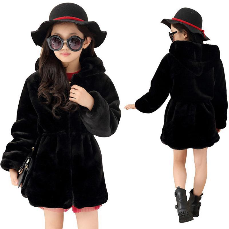 ФОТО 2017 Girls Winter Faux Fur Fleece Girls Coats Kids Warm Jacket Children Snowsuit Outerwear Dress Style Jacket Free Shipping
