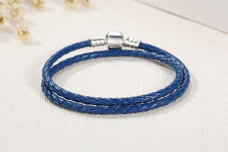 925 Sterling Silver Blue Snake Chain Adjustable Braided Rope Bracelets
