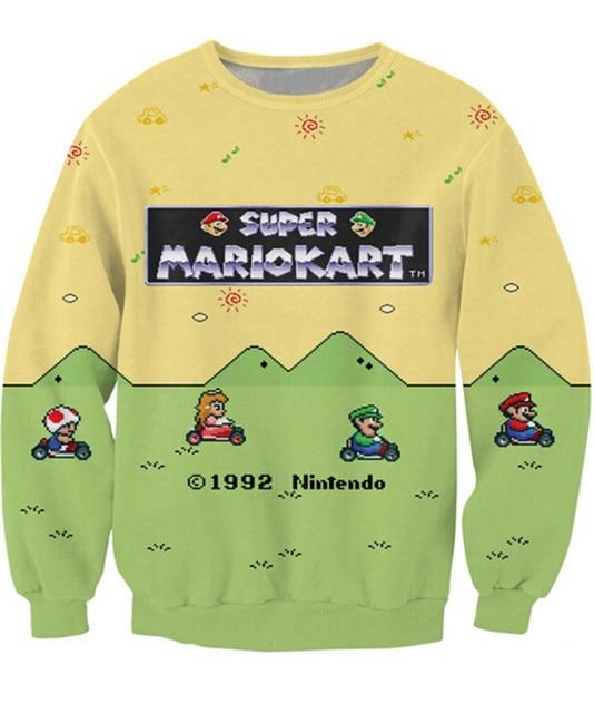 New Women Men Cartoon Sweatshirt 3D Print Letters Super Mario Kart  Hoodies Hip Hop Casual Sweatshirt Loose 3d Pullover Hoodies