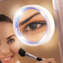 Makeup Mirror Shaving mirror glass Vacuum suction cup LED light make-up magnifying glass amplification 8 times bathroom mirror