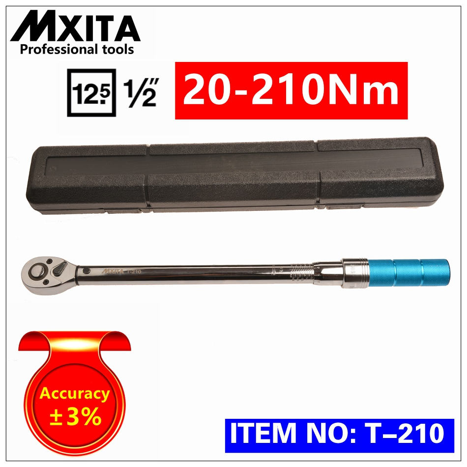 MXITA 1/2 20-210Nm Accuracy 3% High precision Adjustable Torque Wrench car Spanner  car Bicycle repair hand tools set mxita accuracy 3% 1 2 5 60nm high precision professional adjustable torque wrench car spanner car bicycle repair hand tools set