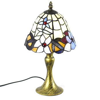 European Country Rustic Tiffany Bedroom beside Table light Glass Shade Study Room Desk Lamp Reading Room Bronze Base Table lamp