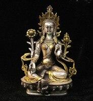 Old Tibet Silver Gild Green Tara Mahayana Buddhism enlightenment Goddess Statue