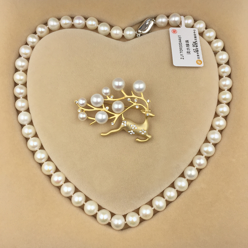 Sinya Natural freshwater round pearl beads strand necklace Chocker brooch jewelry set for Women Mum New years Christmas gift Hot