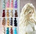 1 шт. 15 см * 100 см BJD Парики Высокой температуры красочные Вьющиеся Волосы Кусок Для 1/3 1/4 1/6 BJD SD Dollfie бесплатной доставкой