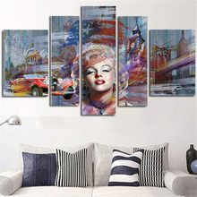 5 Plane Large Size Wall Painting Marilyn Monroe Canvas Art Picture Morden Posters Paintings Home Decoration Without Framed(China)
