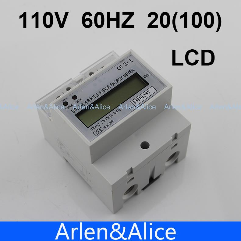 20 (100) Eine 110 V 60 HZ DDS238-4 einphasig din-schiene KWH Watt stunde din-schiene energiezähler LCD