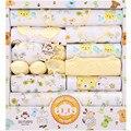 18 шт./компл. 100% хлопок новорожденных мальчиков и девочек одежда для новорожденных костюм наряды брюки комплект одежды младенца подарочный набор синий желтый розовый