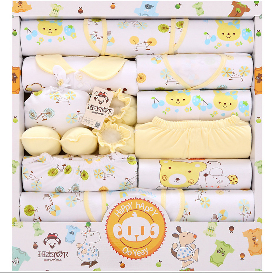 18 piece/set 100% cotton newborn baby boys & girls clothes infant suit outfits pants baby clothing set gift set blue yellow pink