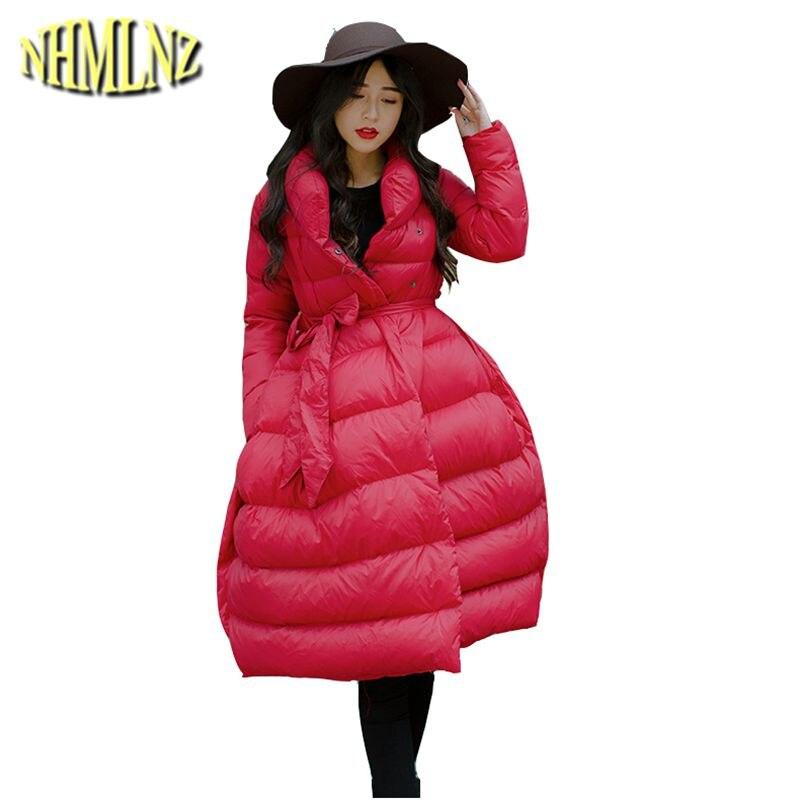 Hiver Nouvelles Manteau Long Solide De Wun855 Veste Lâche Couleur Moyen Chaud Black Élégant Mode Coréenne 2018 Coton red Femmes rr0zn