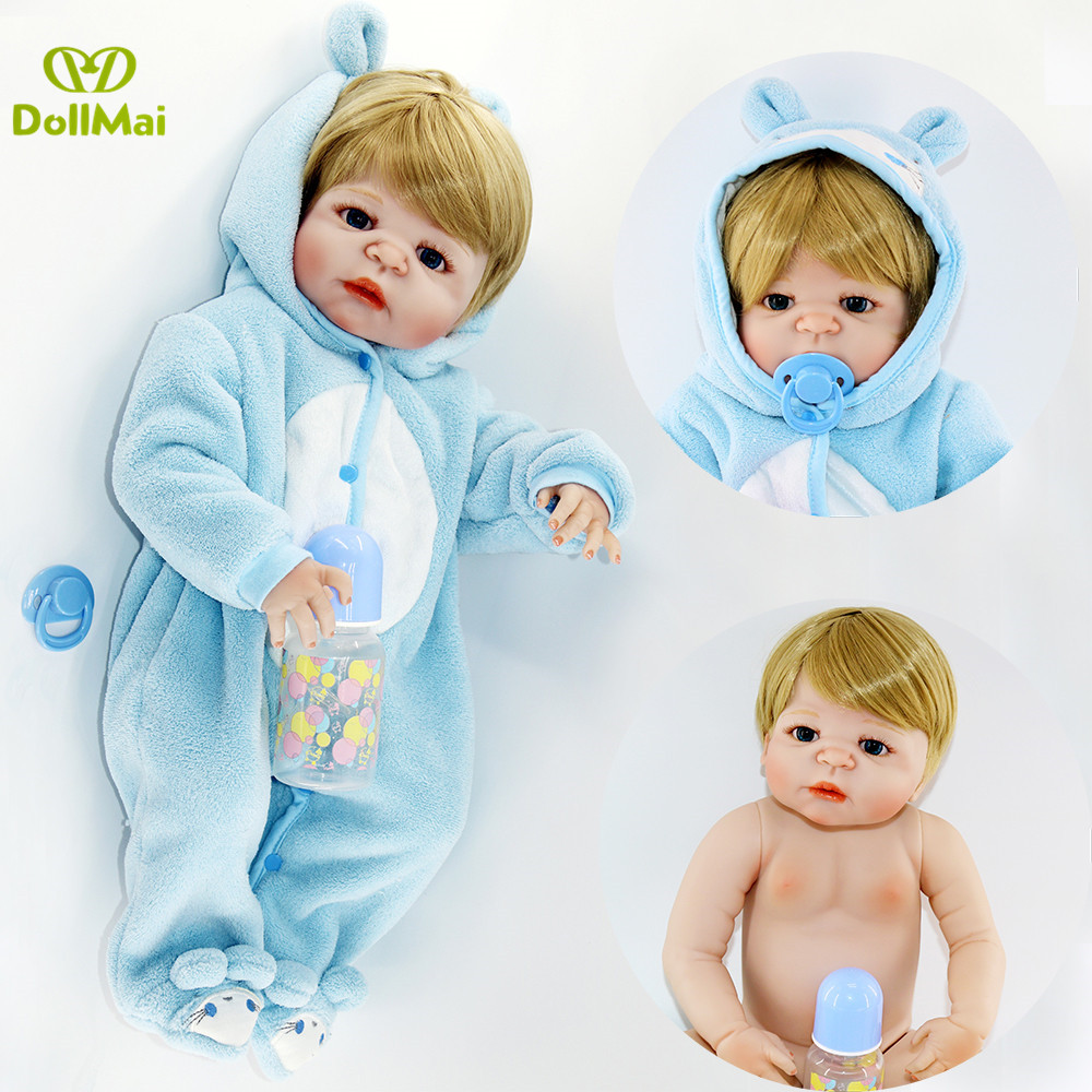 57cm Bebe Dolls Reborn Realistic Full Silicone Baby Boy Doll In Cute Soft Plush Clothes real Alive Baby Dolls As Girls Playmate