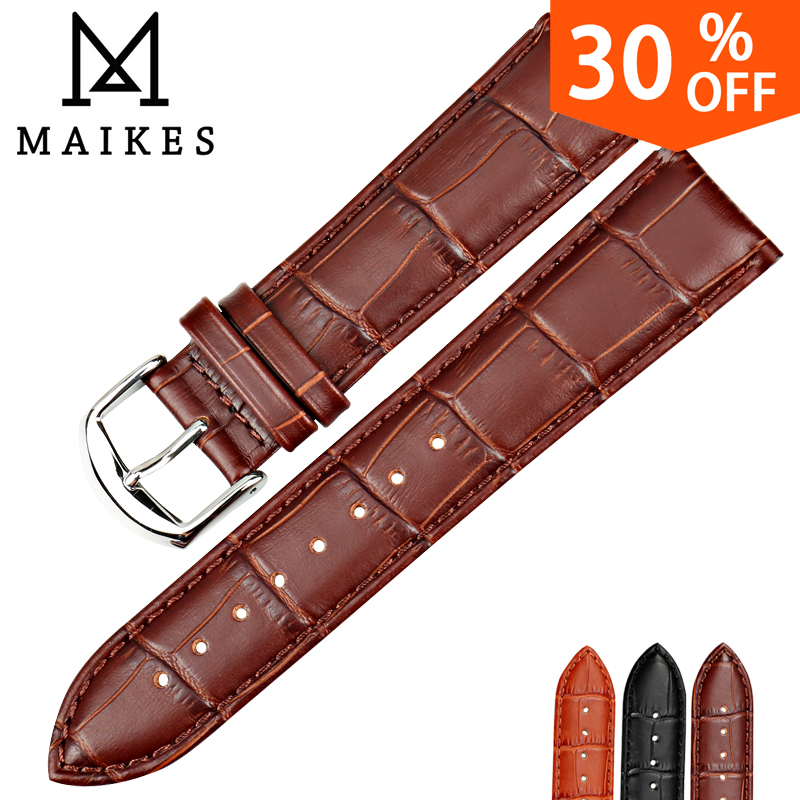MAIKES Watch bracelet Accessories Genuine Leather belt black watchbands strap watch band 18mm 20mm 22mm watch wristband Gifts цена