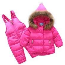цена на Russia Winter Children Clothing Sets Jumpsuit Snow Jackets+bib Pant 2pcs Baby Boy Girls Duck Down Coats Jacket With Fur Hood