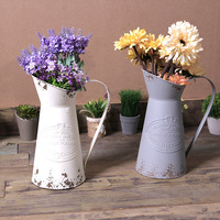 American country old retro wrought iron flower bucket dry flower story flower arrangement vase shop home decoration display
