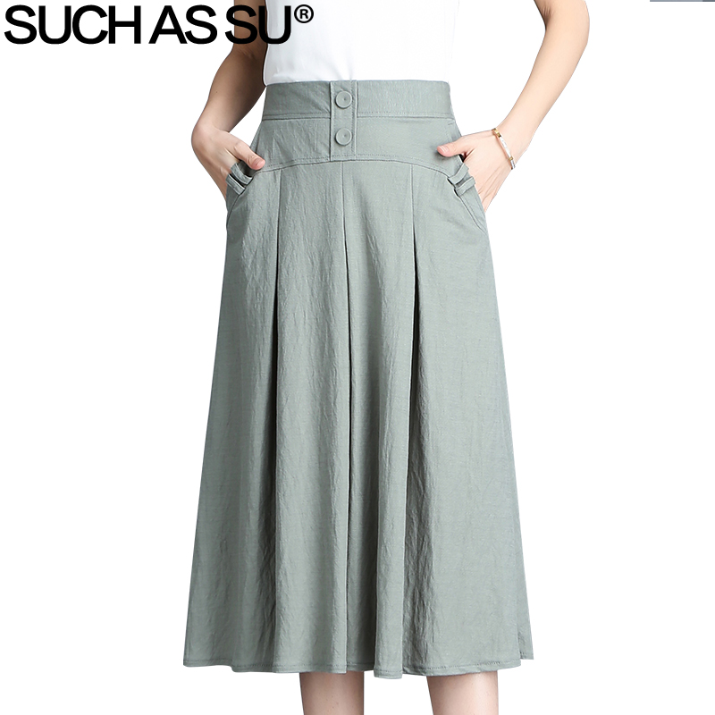 New 2018 Women Black Red Blue Green Brown Button High Waist Pleated Skirt Spring Summer Elastic Waist Female Mid Long Skirt