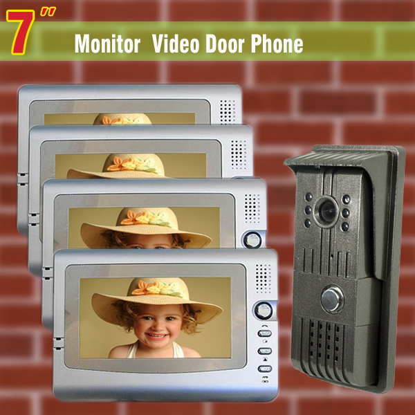 7″ Lcd Video Door Phone Intercom System Night Vision Door Bell Video Doorbell Camera Intercom 1 V 4 Monitor Video Doorbell