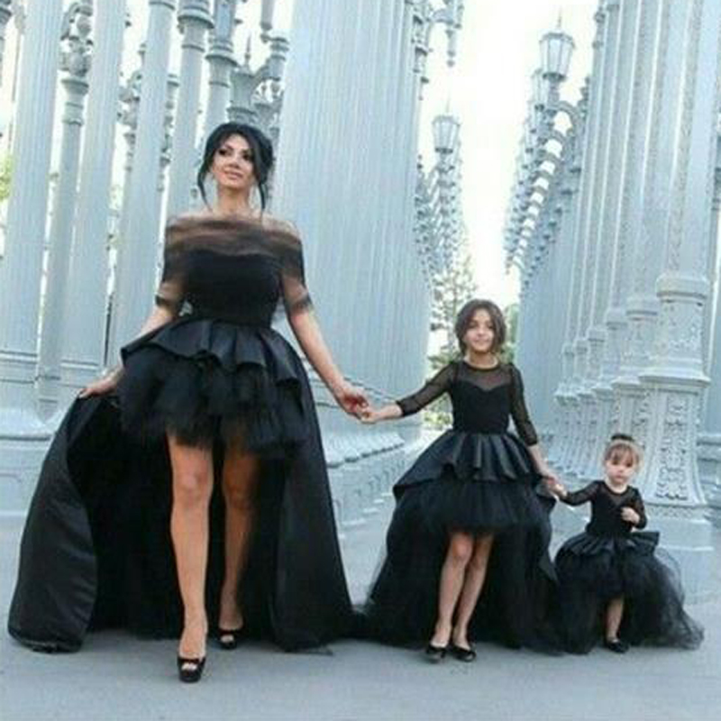Mother Daughter Dresses Wedding Custom Size Color Black Front Short Back Long Skirt New Arrival Mother of The Bride Gown Wedding платье для матери невесты erose mother of the bride dresses 009 v mother of bride dresses adm 009