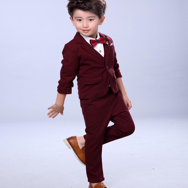 Children suit 2018 fashion children's solid color autumn boy suit performance costumes four / piece suit children s suit 2018 fashion england wind children s clothing autumn and winter boy plaid suit performance clothing