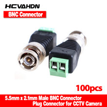 HCVAHDN 100Pcs/lot Mini Coax CAT5 To Camera CCTV BNC UTP Video Balun Connector Adapter BNC Plug For CCTV System(China)