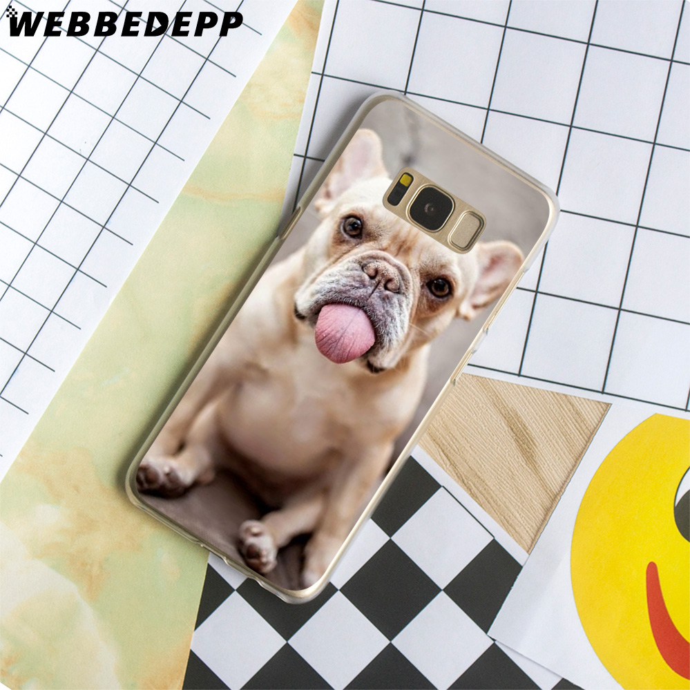 WEBBEDEPP French bulldog border collie terrier dog Hard Transparent Cover Case for Galaxy S9 S8 Plus S7 S6 Edge S5 S4 S3