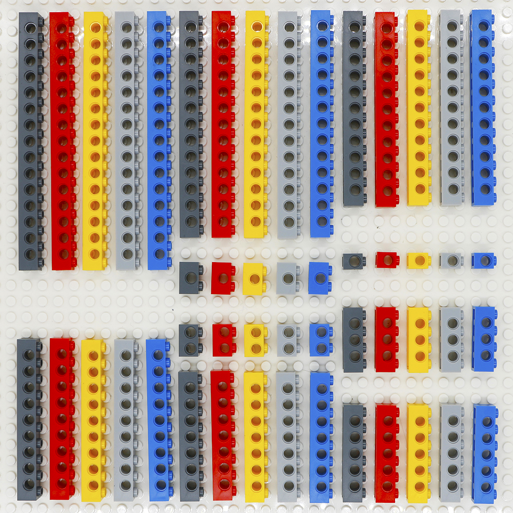 Compatível legoinglys técnica blocos de construção peças a granel tijolos grossos moc 10 tamanho 5 cor combinação cravejado feixe longo brinquedos lote