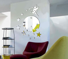 Flying Fairy Tinkerbell With Stars Round Wall Mirror Sticker Kitchen Acrylic Decals
