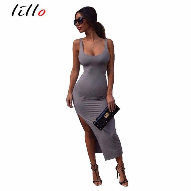 3cf70d774a Casual gray sleeveless Package hip Split ends Dress Sexy nightclub tight  dress summer dress Slim fashion low collar women