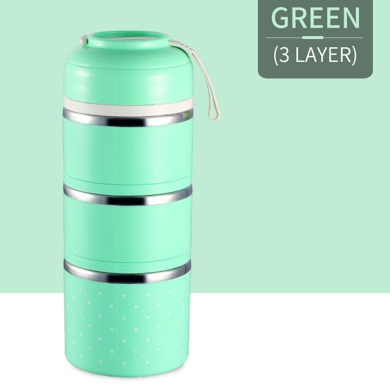 Милые детские Термальность Коробки для обедов герметичность Нержавеющая сталь Bento box для детей Портативный Пикник школа Еда контейнер Box - Цвет: Green 3 Layer