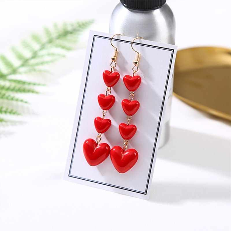 Long Love Heart Red Earrings Sweet Korean Cute Tassel Drop Dangle Earrings for Women Girls Fashion Party Ear Jewelry Gifts