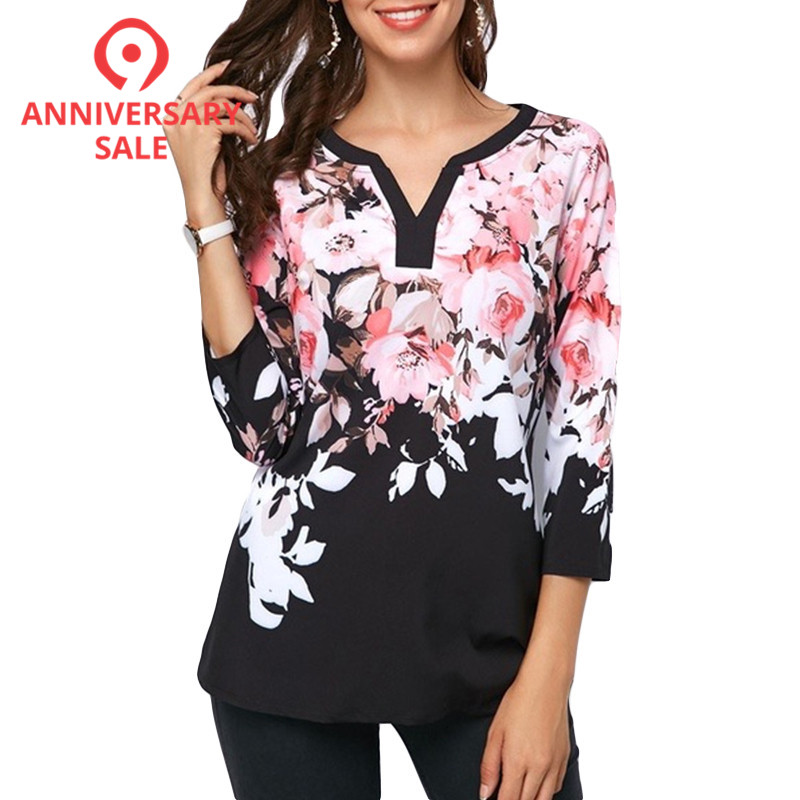 Plus Size 5XL Women Tops and   Blouse   2019 Spring Summer Top Flower Print V-neck   Blouses   Fashion Female Casual Loose   Shirts   Blusas
