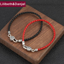 2019 Buddha Couple Bracelet 100% 925 Sterling Silver Women Men Leather Red Black Rope Mantra Vajra Bracelet Bangle Jewelry B21(China)