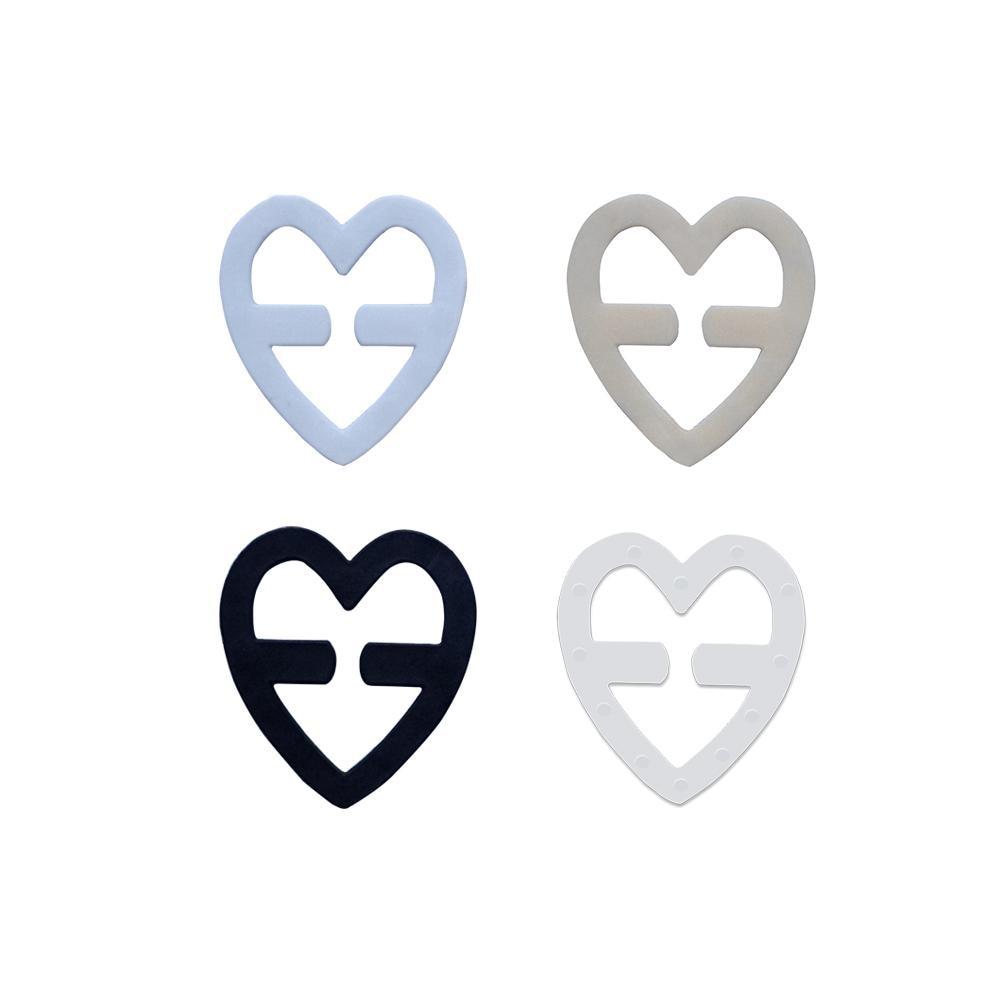 1pc Heart-shaped Colorful Invisible Anti-Slip Bra Buckle Clips Perfect Adjust Wedding Bra Strap Clip Holder Underwear Accessorie