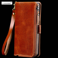 Factories Customize Multi Function Genuine Cowhide Leather Case For Xiaomi Redmi Note 3 Note3 Wallet