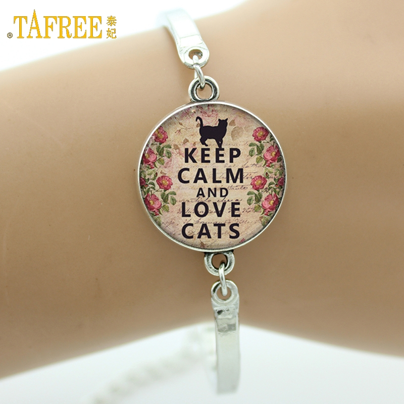 TAFREE Marque Keep Calm and Love Cats Bracelet belle citation charme amant de chat bijoux en verre Cabochon Art photo bracelet cadeaux D09