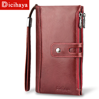 DICIHAYA Hot Women Clutch Wallet Genuine Leather Wallet Female Long Wallet Women Zipper Purse with Strap Coin Purse Phone Bag