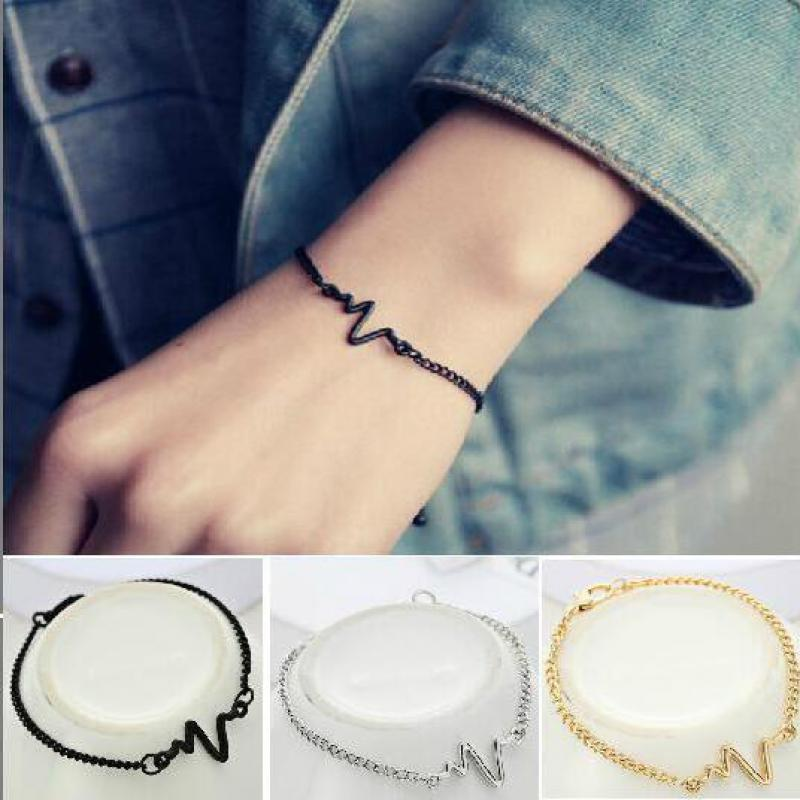 New Listing Fashion Personality Simple Ecg Design Ray Diagram Bracelet Frequency Beat Bracelet 1 Love Heart Heart Beat Bracelet