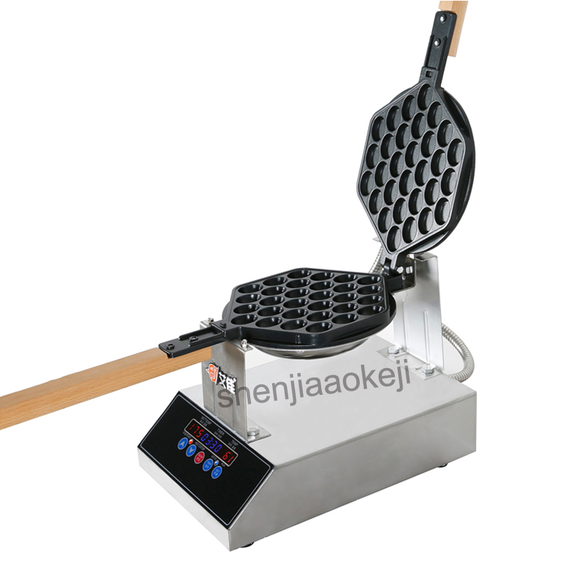 Stainless Steel Roaster Machine Commercial Intelligent Waffle Machine Egg Bubble Waffle Maker Digital Display Waffle Maker 1400W