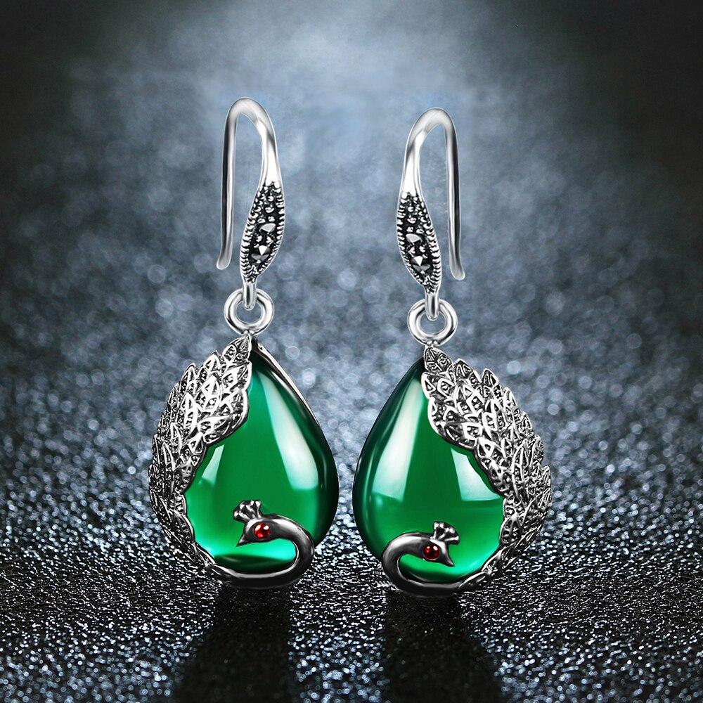 купить EDI Vintage Green Chalcedony Natural Stone Earrings Antiallergic Peacock Shape Bohemian Indian Jewelry For Women по цене 1186.56 рублей