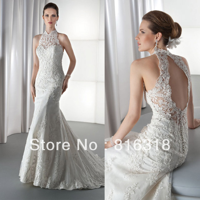 vestido de noiva 2016 sexy high neck unique open back lace