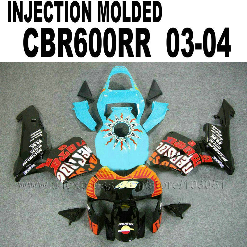 Motorcycle Injection Molding fairings kit for Honda repsol CBR600RR 2003 2004 CBR 600 RR 03 04  blue body repair fairing set hot sales for honda cbr600rr 2003 2004 cbr 600rr 03 04 f5 cbr 600 rr blue black motorcycle cowl fairing kit injection molding