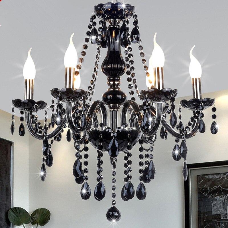 Nouveau Moderne Noir lustres en cristal éclairage pour Salon Chambre lampe intérieure K9 cristal lustres de teto lustre au plafond